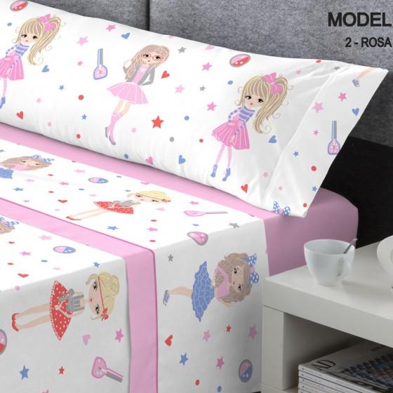 Juego Sábanas Coralina Kabely Kids MODEL Catotex Rosa