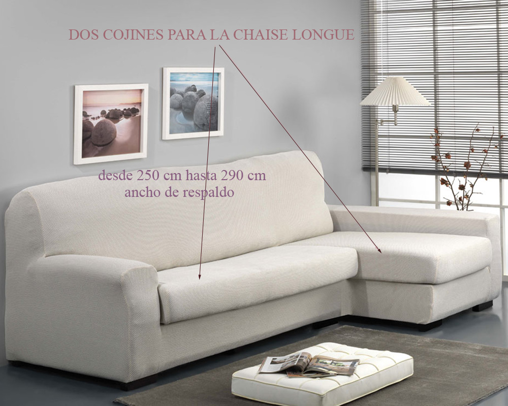 Funda para sof chaise longue con coj n separado viena de - Fundas para sofas con cheslong ...